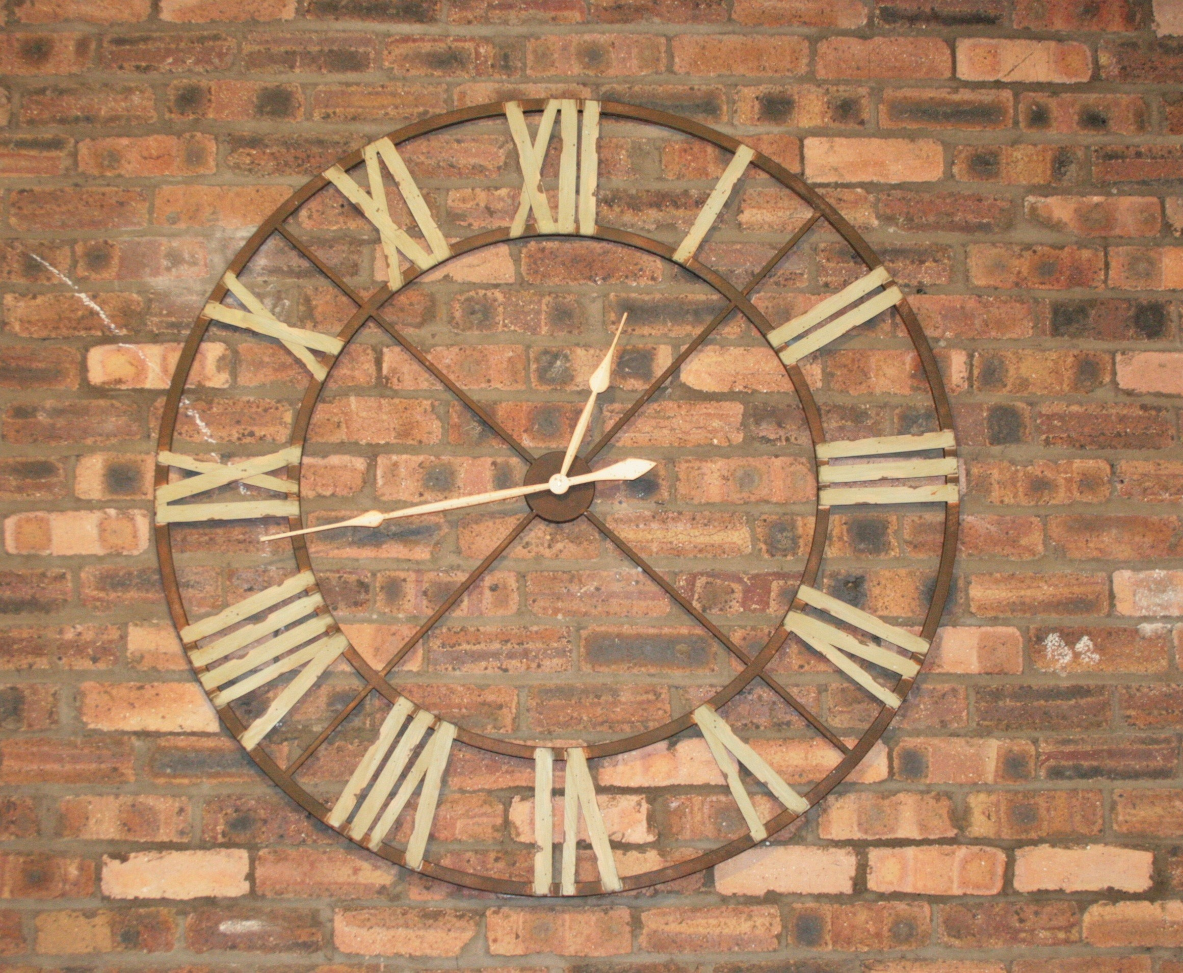 Large Iron Wall Clock With Roman Numerals Vintage