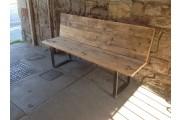 Reclaimed Steel & Plank Garden Benches