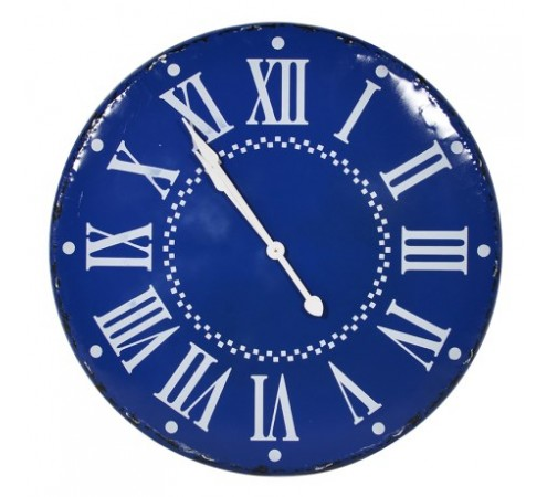 Large Tin Blue Wall Clock