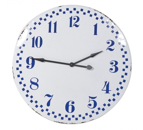 Blue & White Tin Check Wall Clock
