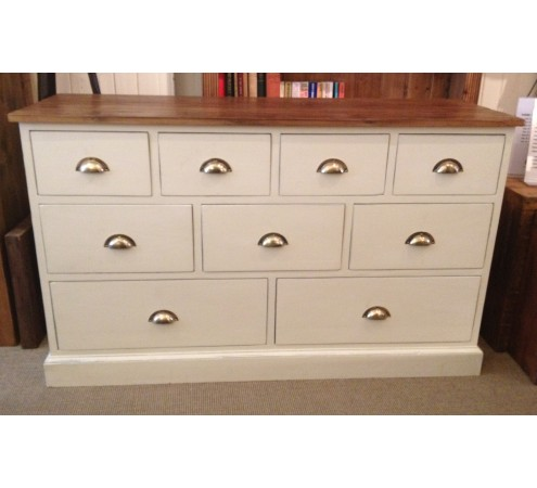 Provence Painted 9 Drawer Bank with Brass Cup Handles