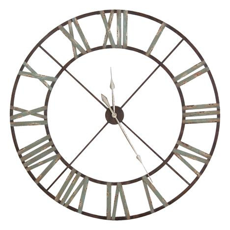 Large Iron Wall Clock With Roman Numerals Vintage Reclaimed